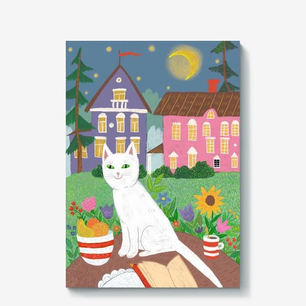 Холст «Милая белая кошка в летнем саду.»