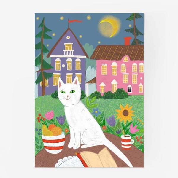 Постер «Милая белая кошка в летнем саду.»