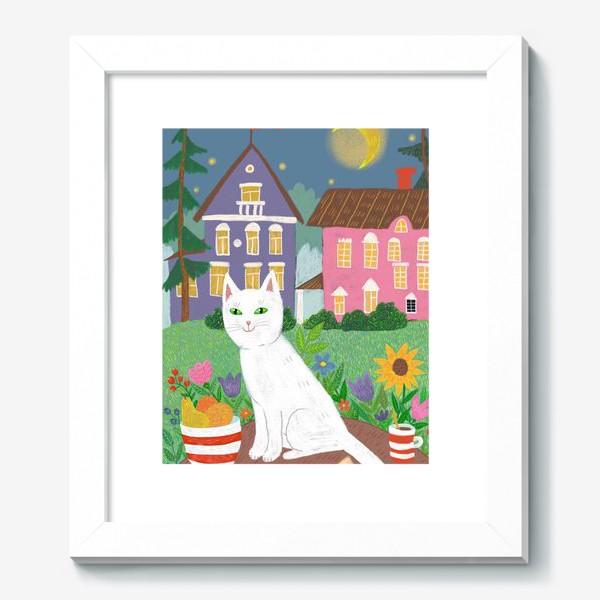 Картина «Милая белая кошка в летнем саду.»