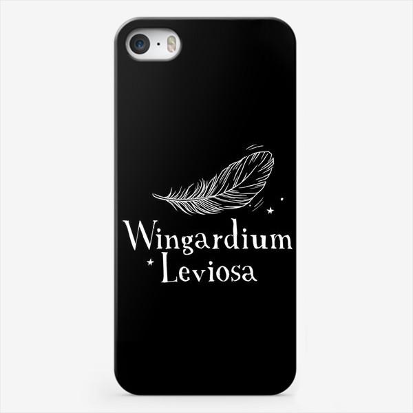 Чехол iPhone «Левиоса. Вингардиум Левиоса. Гарри Поттер. Волшебство. Хогвартс. Перо. Черный фон»