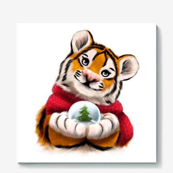 Холст «Новогодний тигр в красном шарфе»