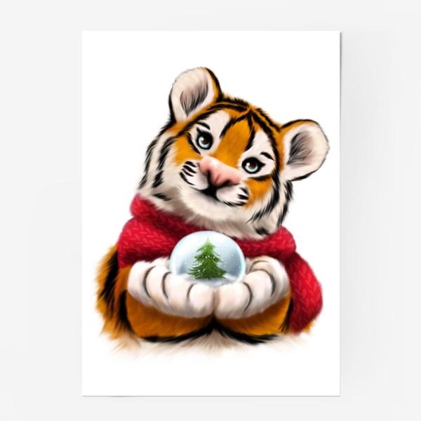 Постер «Новогодний тигр в красном шарфе»