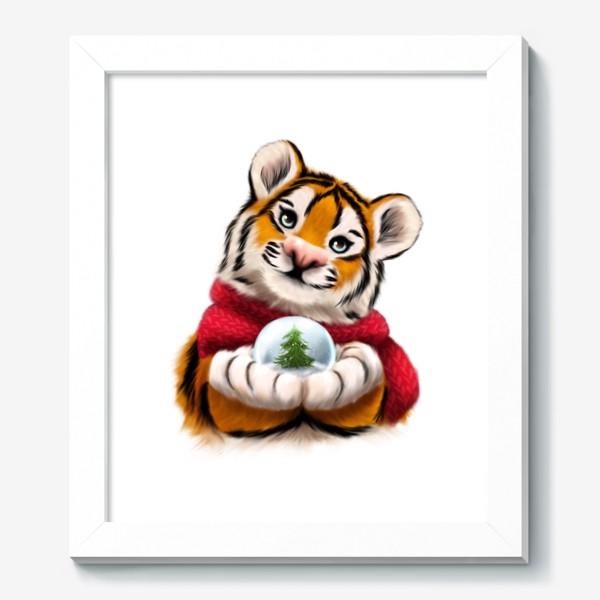 Картина «Новогодний тигр в красном шарфе»