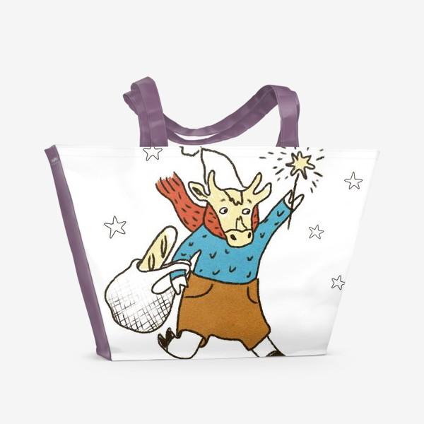 Пляжная сумка «Бык с авоськой и бенгальским огнем цветной»