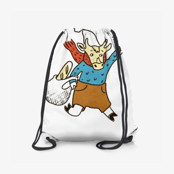 Рюкзак «Бык с авоськой и бенгальским огнем цветной»