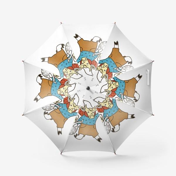 Зонт «Бык с авоськой и бенгальским огнем цветной»