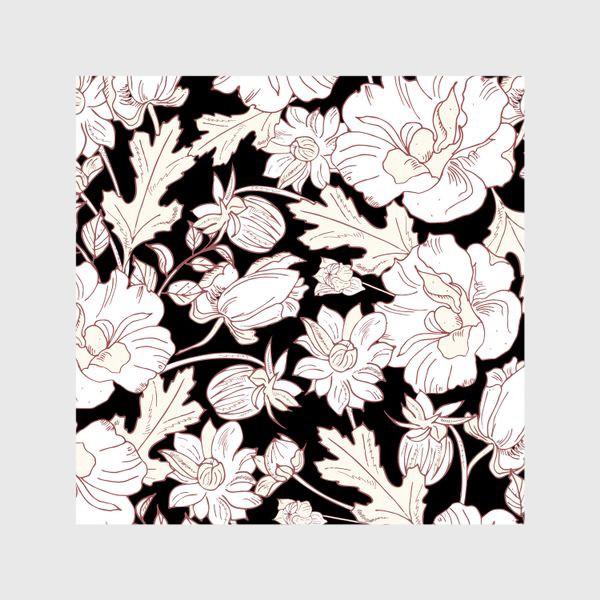 Шторы «цветы на чёрном»