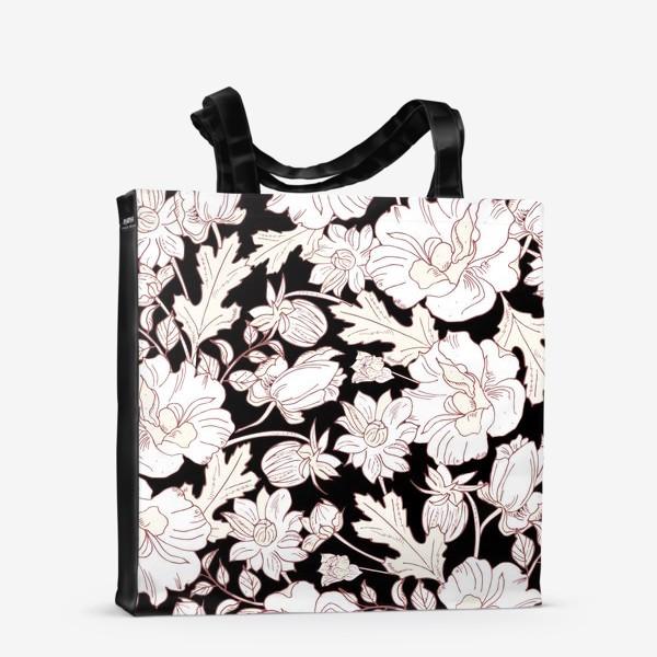 Сумка-шоппер «цветы на чёрном»