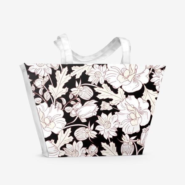 Пляжная сумка «цветы на чёрном»