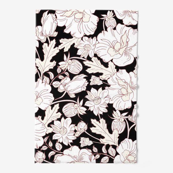 Полотенце «цветы на чёрном»