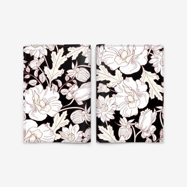 Обложка для паспорта «цветы на чёрном»