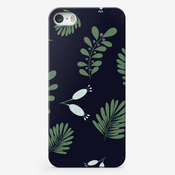 Чехол iPhone «Сказочные цветы на темном фоне»