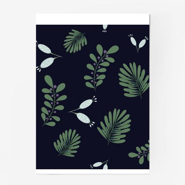 Постер «Сказочные цветы на темном фоне»