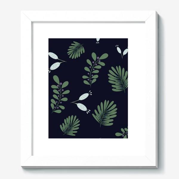 Картина «Сказочные цветы на темном фоне»