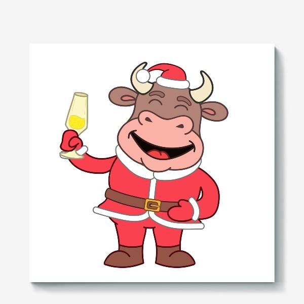 Холст «милый мультяшный бычок в новогоднем костюме с бокалом шампанского»