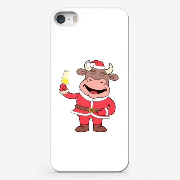 Чехол iPhone «милый мультяшный бычок в новогоднем костюме с бокалом шампанского»
