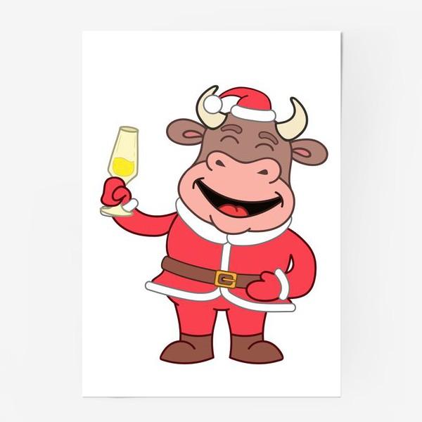Постер «милый мультяшный бычок в новогоднем костюме с бокалом шампанского»