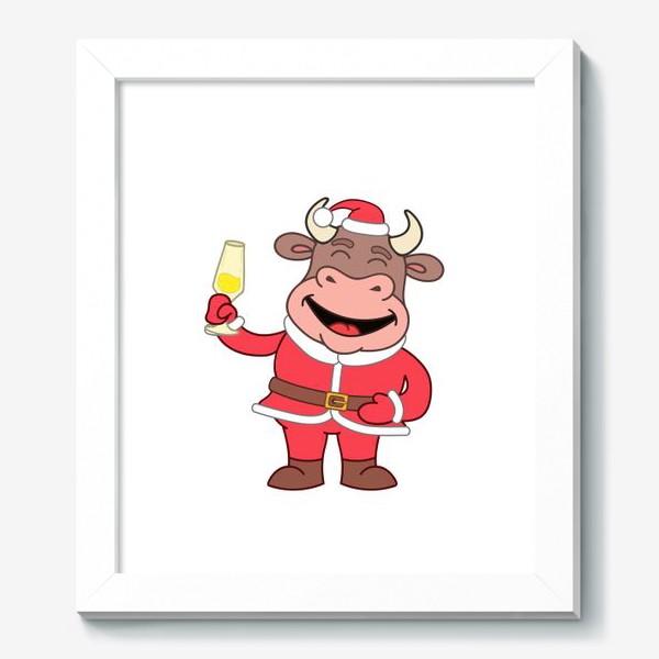 Картина «милый мультяшный бычок в новогоднем костюме с бокалом шампанского»