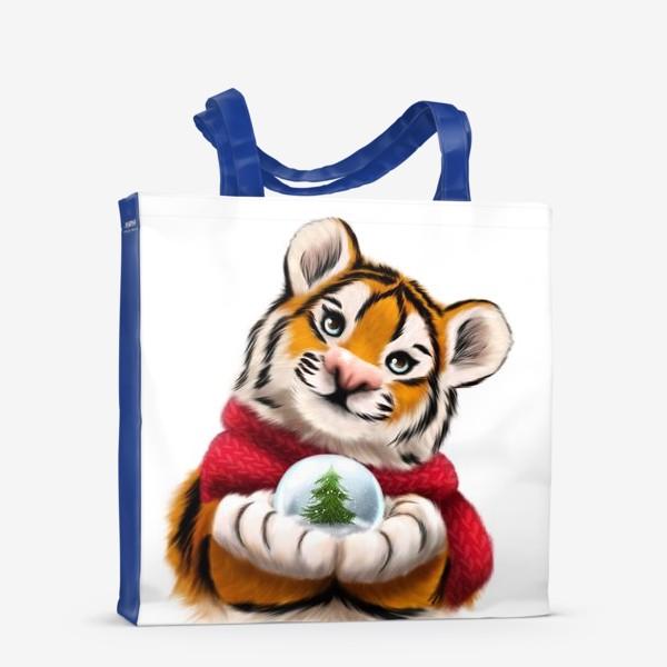 Сумка-шоппер «Новогодний тигр в красном шарфе»