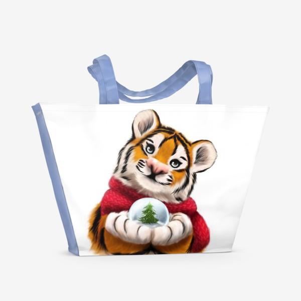 Пляжная сумка «Новогодний тигр в красном шарфе»