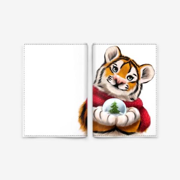 Обложка для паспорта «Новогодний тигр в красном шарфе»