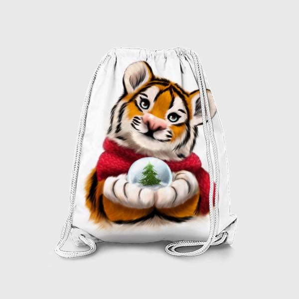 Рюкзак «Новогодний тигр в красном шарфе»