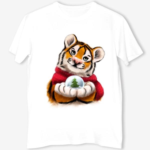 Футболка «Новогодний тигр в красном шарфе»