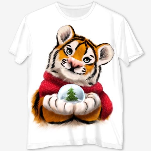 Футболка с полной запечаткой «Новогодний тигр в красном шарфе»