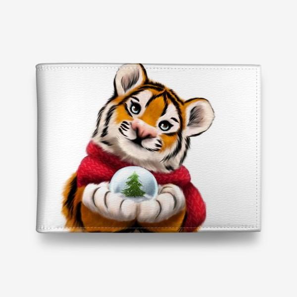 Кошелек «Новогодний тигр в красном шарфе»