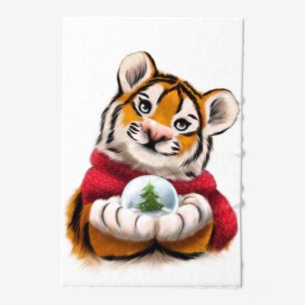 Полотенце «Новогодний тигр в красном шарфе»