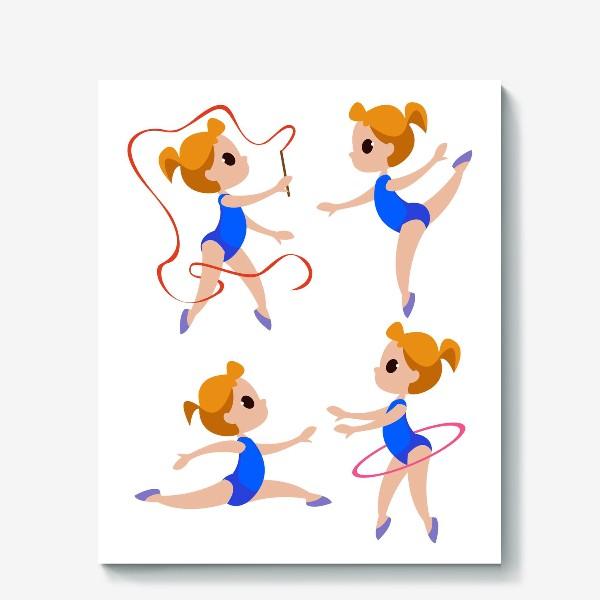 Холст «Гимнастки с лентами, спортивный принт»