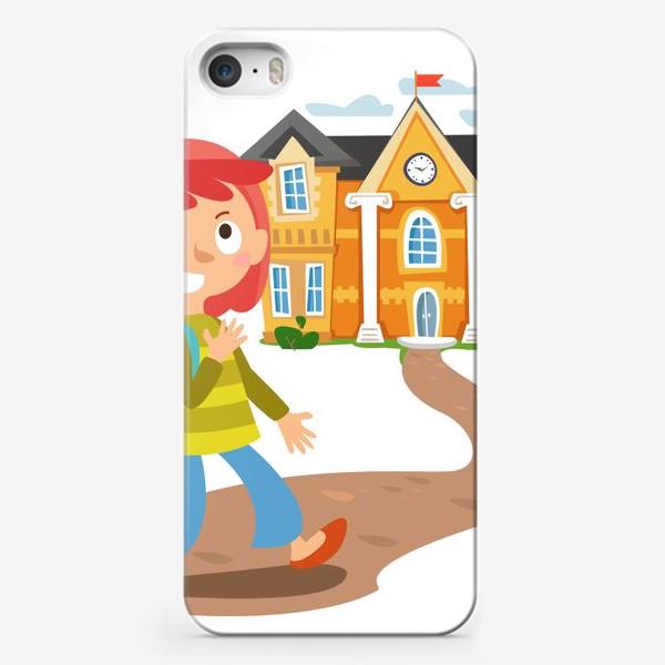 Чехол iPhone «Школьница идет в школу»