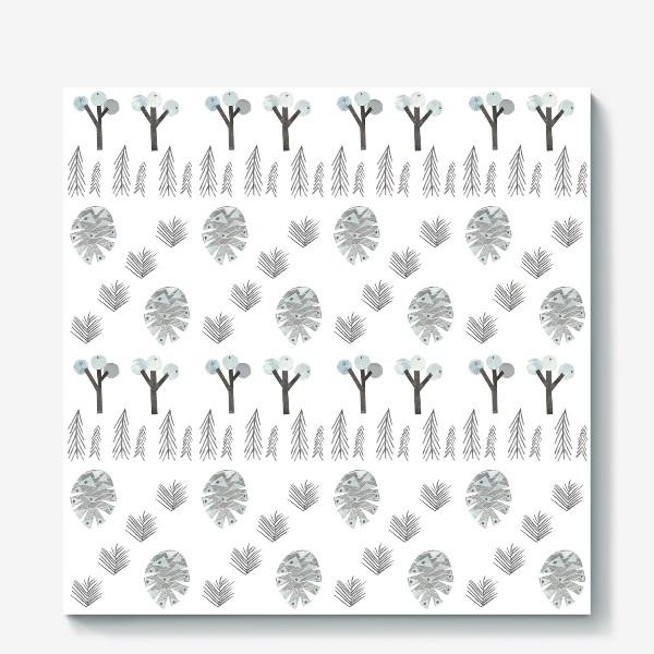 Холст «Зимний лесной паттерн 1 (шишки, елки, ветки)»
