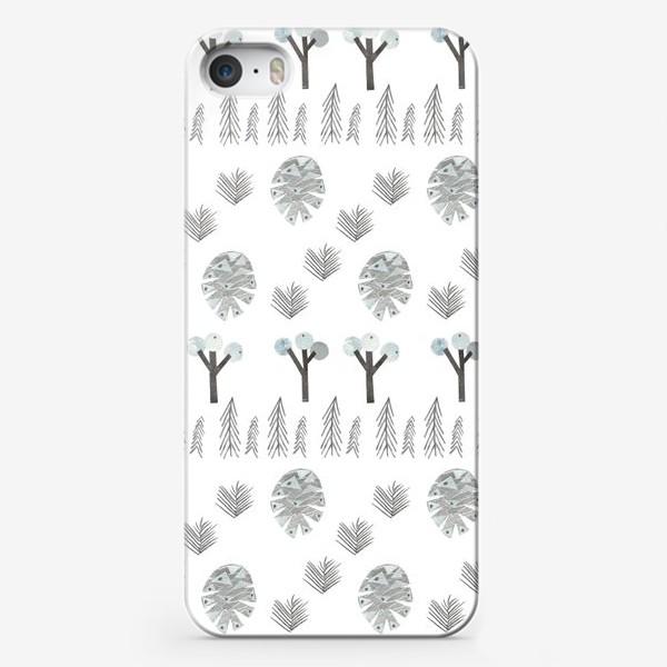 Чехол iPhone «Зимний лесной паттерн 1 (шишки, елки, ветки)»