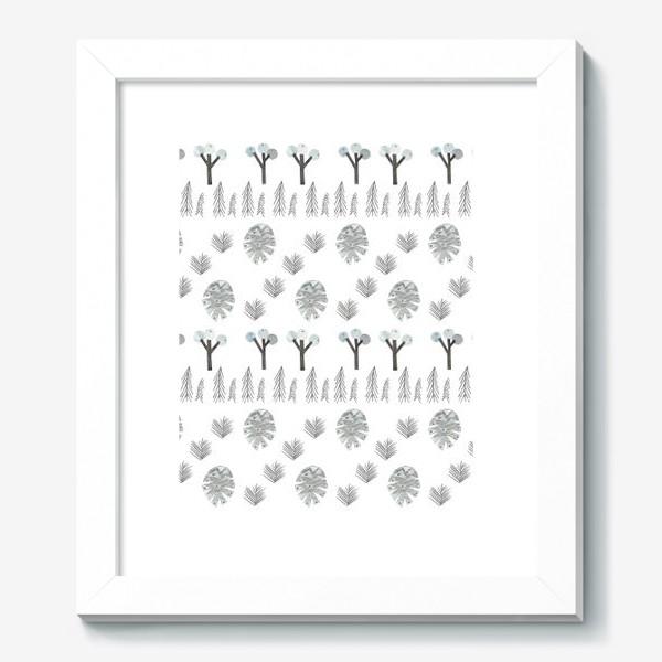Картина «Зимний лесной паттерн 1 (шишки, елки, ветки)»