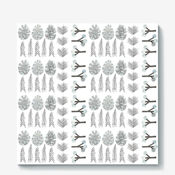 Холст «Зимний лесной паттерн 2 (шишки, елки, ветки)»
