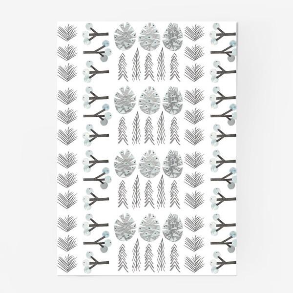 Постер «Зимний лесной паттерн 2 (шишки, елки, ветки)»