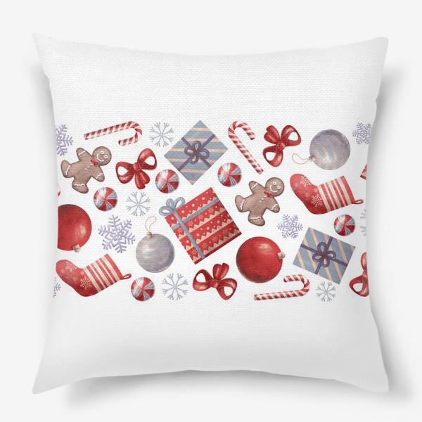 Подушка «новогодний принт на белом фоне»