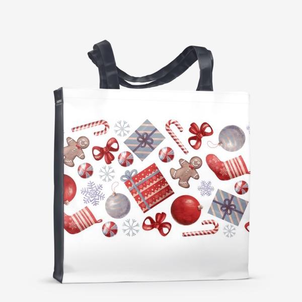 Сумка-шоппер «новогодний принт на белом фоне»