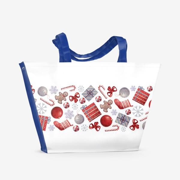 Пляжная сумка «новогодний принт на белом фоне»