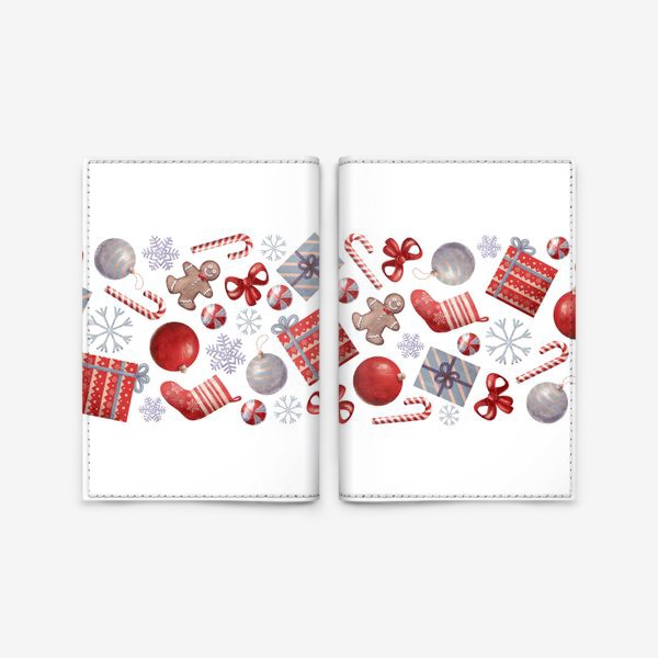 Обложка для паспорта «новогодний принт на белом фоне»
