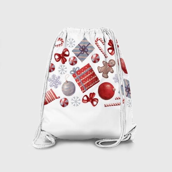 Рюкзак «новогодний принт на белом фоне»