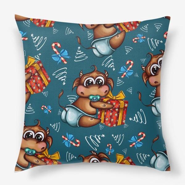 Подушка «Малыш Бычок с подарком на голубом фоне»