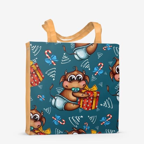 Сумка-шоппер «Малыш Бычок с подарком на голубом фоне»