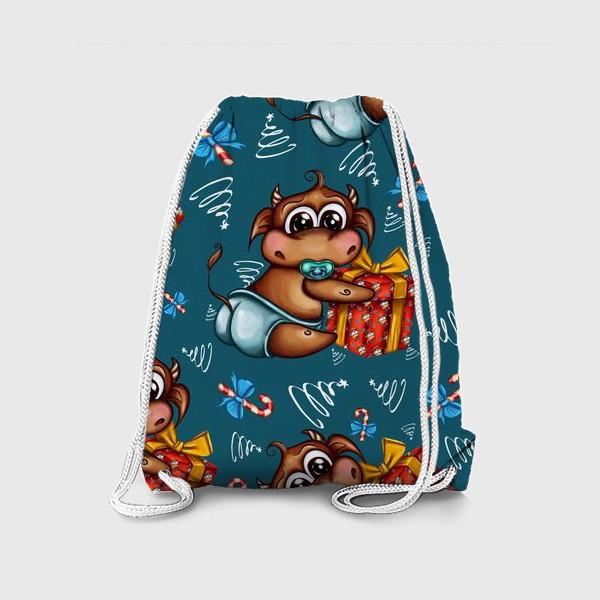 Рюкзак «Малыш Бычок с подарком на голубом фоне»
