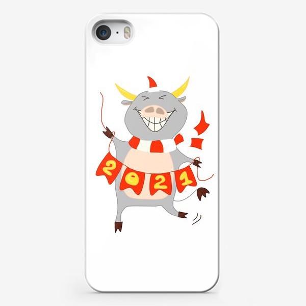 Чехол iPhone «Символ Нового 2021 года Бык с гирляндой из флажков с цифрами»