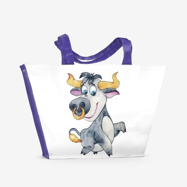 Пляжная сумка «Символ 2021 года. Акварель»