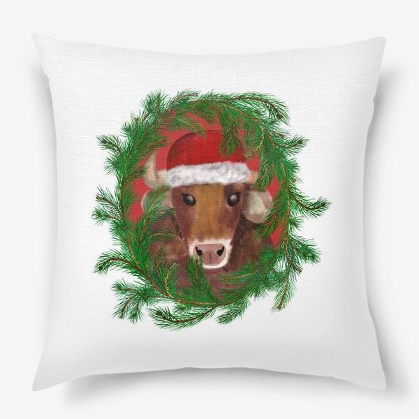 Подушка «Новогодний бык Вася в красной шапочке с еловым венком»