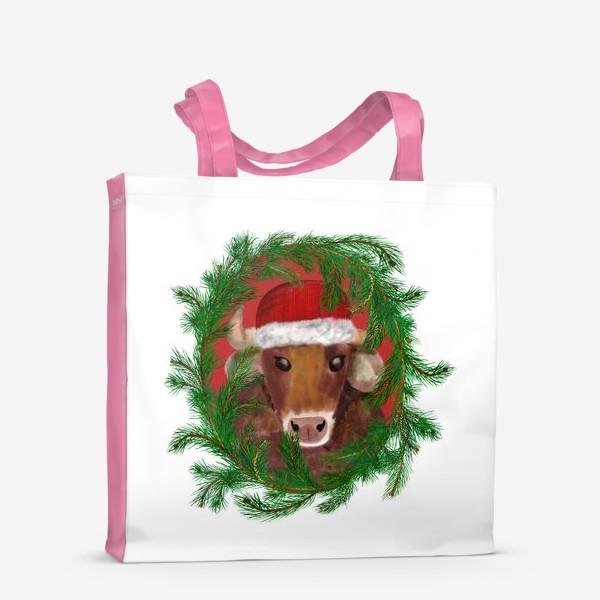 Сумка-шоппер «Новогодний бык Вася в красной шапочке с еловым венком»
