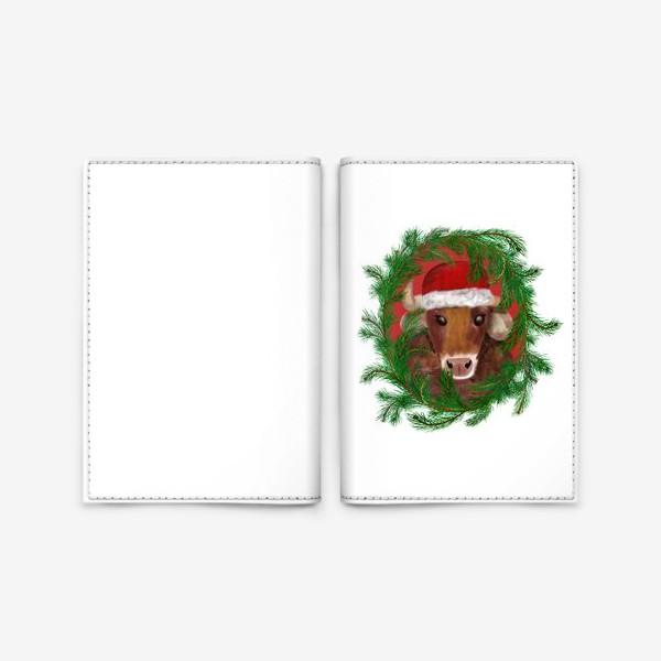Обложка для паспорта «Новогодний бык Вася в красной шапочке с еловым венком»